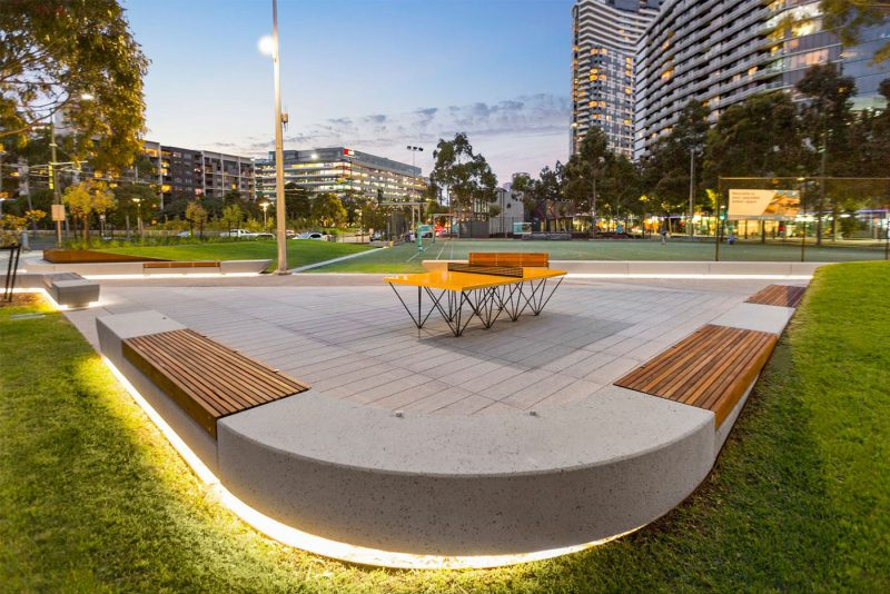 Illuminated concrete and timber benches at Docklands Park