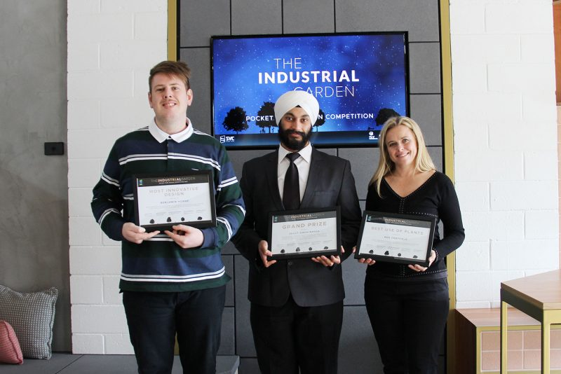 Benjamin Horne, Jasjit Singh and Ros Chatfield are the winners of The Industrial Garden: SVC's Pocket Park Design Compeition.