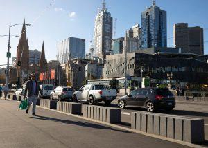 Honed concrete bollards by SVC Urban at Princes Bridge Melbourne