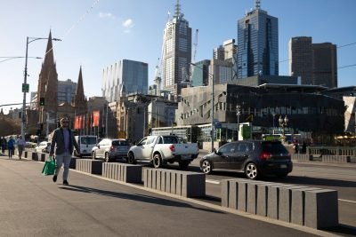Honed concrete bollards by SVC Urban at Princes Bridge Melbourne