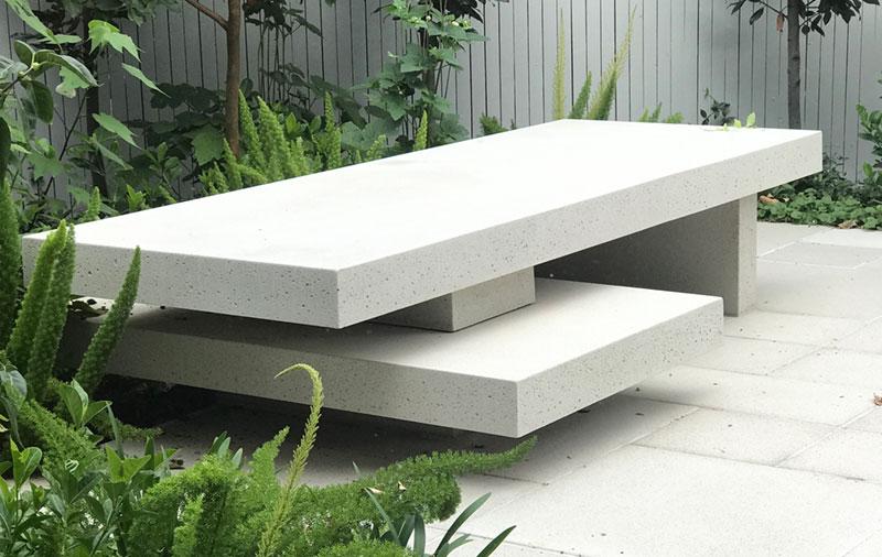 Bespoke concrete bench design by Avantgardener