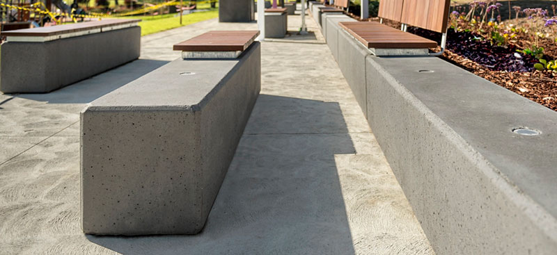 The concrete benches at Box Hill Gardens.
