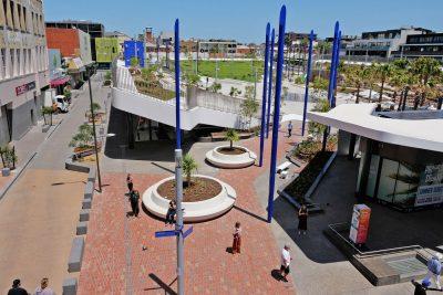 SVC Urban | Bespoke precast concrete seat modules create large-format planters at Prahran Square.