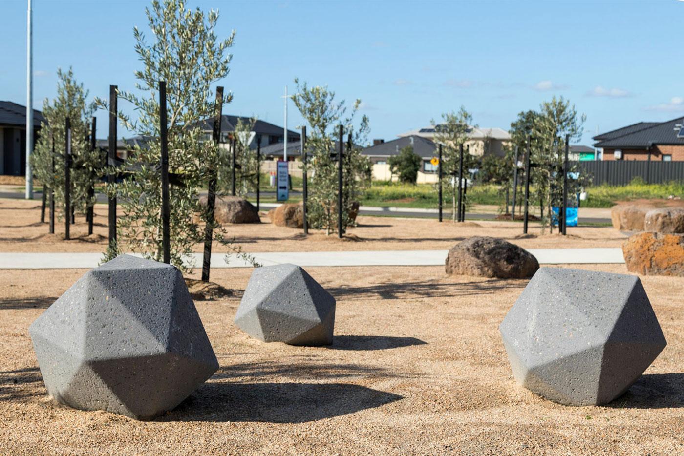 Geometric bollards at Newgate Estate | SVC Urban