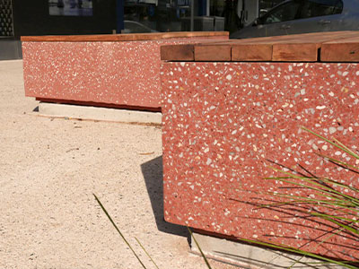 The vibrant red of these concrete seats is thanks to the crushed red brick aggregate.